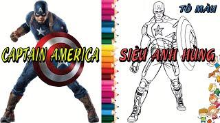 Tô màu Siêu Anh Hùng 1 - Captain America Coloring 1    How to Color Captain america Coloring