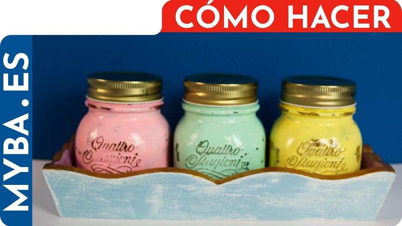 C mo decorar frascos de vidrio y madera pintar botes de for Decoracion de casas con material reciclado