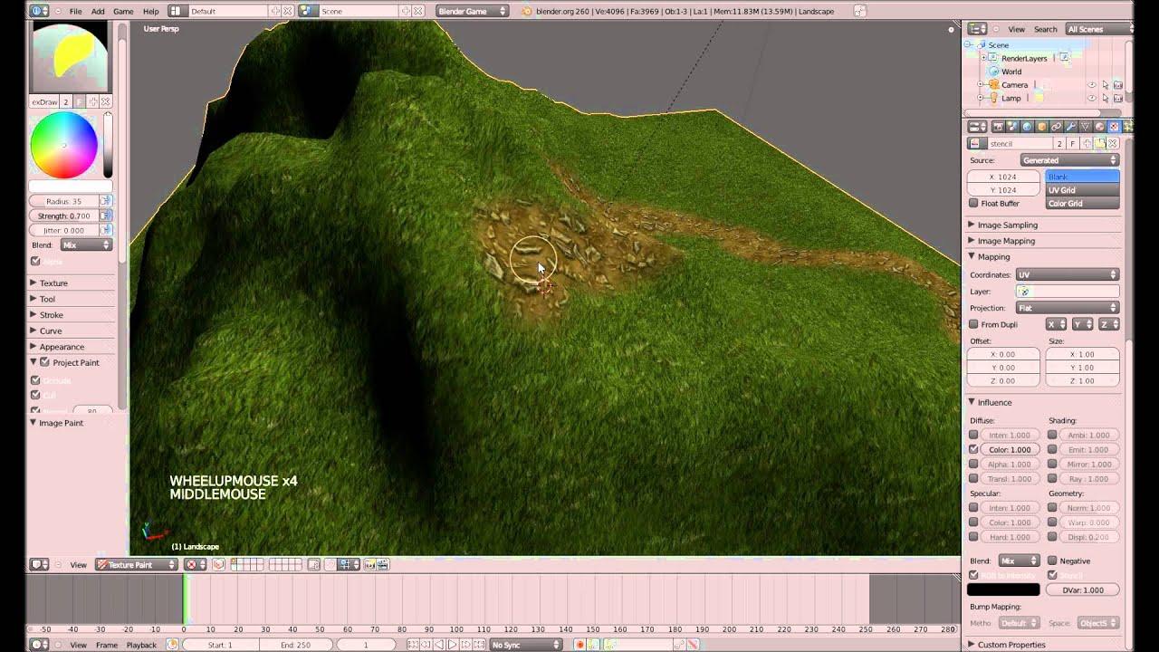 Landschaftsgestaltung  Landschaftsgestaltung mit Stencil #1 - Blender 3D Game Engine ...