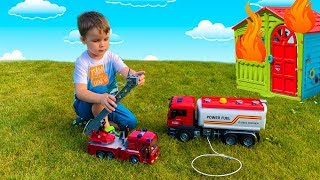 Новая Пожарная машина и Бензовоз -Пожарная Машина тушит пожар - Видео для Детей
