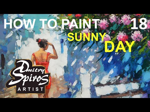 Sunny Alley. Impressionist Landscape Painting Demo / For Beginners / Using Brush and Palette Knife