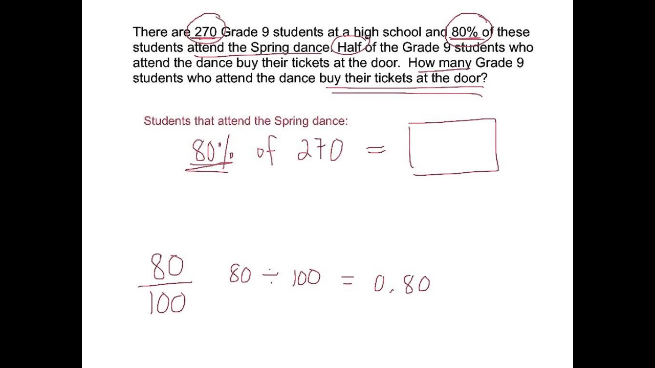 Proportional Reasoning Using Percent School Dance Youtube