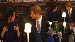 RARE MOMENT of conflict ! Meghan rolled her eyes seemed exasperated with Harry at Eugenie's wedding