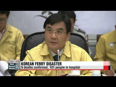 Latest on ferry sinking off Korea's southwestern coast; 9 confirmed dead, 287 missing