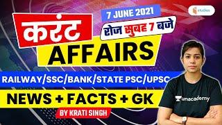Current Affairs | 7 June Current Affairs 2021 | Current Affairs Today by Krati Singh
