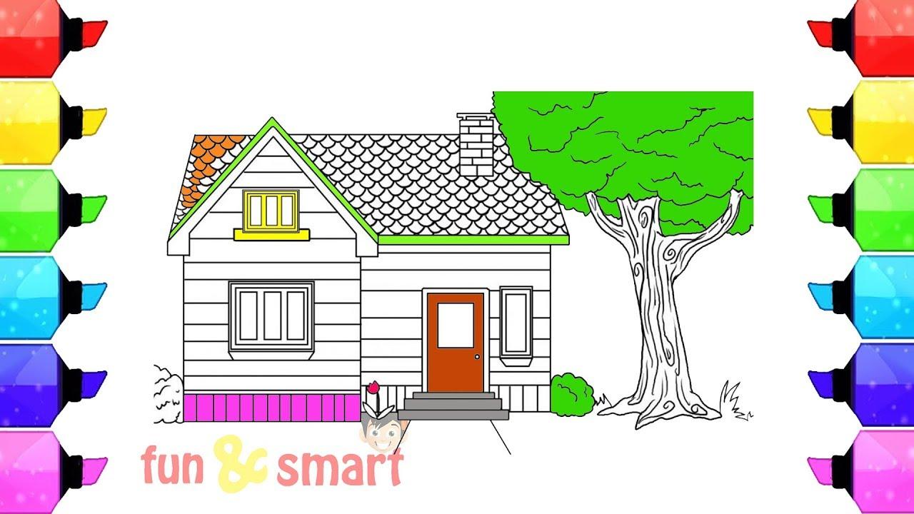 Cara Mewarnai Rumah Sederhana Dan Sebuah Pohon