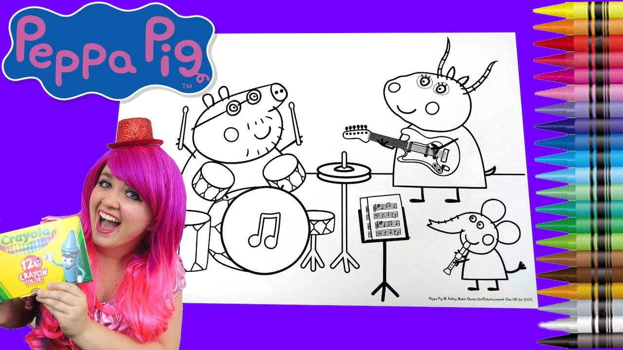 Coloring Peppa Pig Rock Band Jumbo Coloring Book Page Crayola