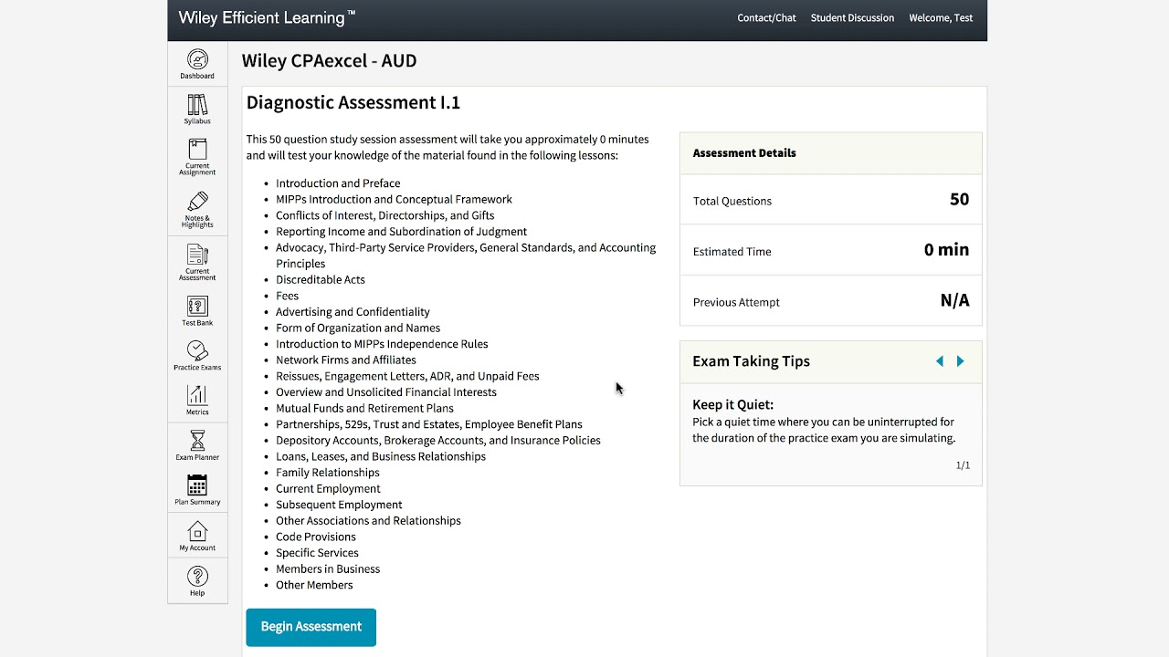 How do I use the Wiley CPAexcel Assessments?