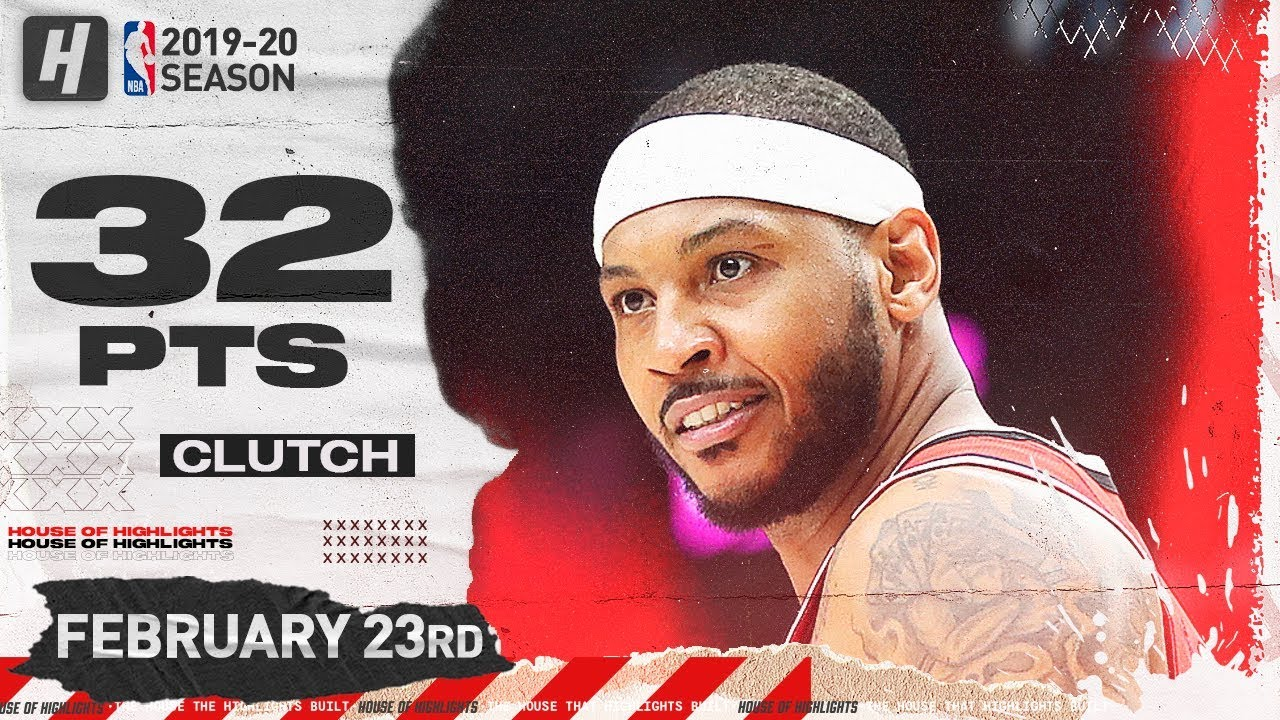 Carmelo Anthony CLUTCH 32 Points Full Highlights | Pistons vs Blazers | February 23, 2020
