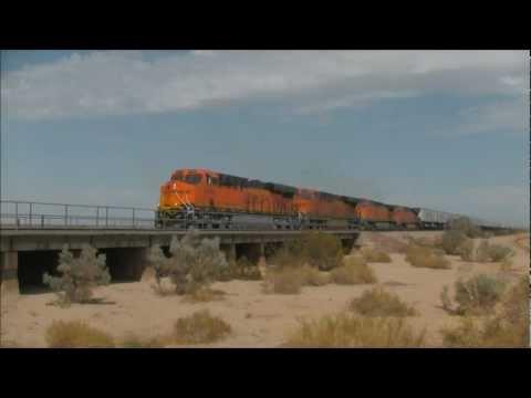 Actual time between trains on the BNSF Transcon, Topock Grade, California 8-29-11