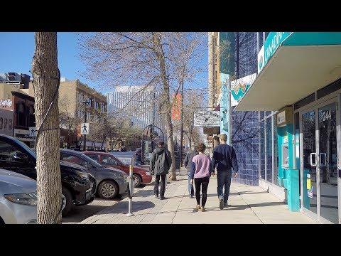 Walking In Downtown Saskatoon Canada. Life In Saskatchewan's Largest City.