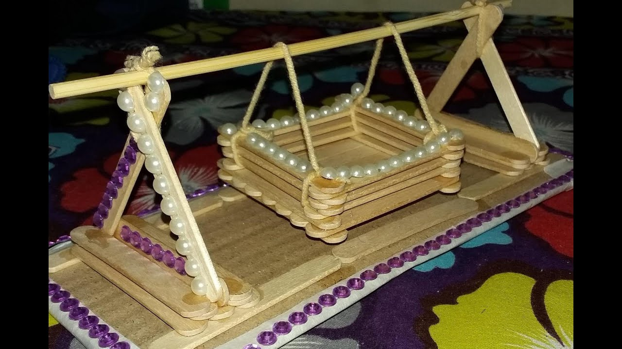 Making a toy baby swing with popsicle sticks 13 youtube for Baby palna decoration