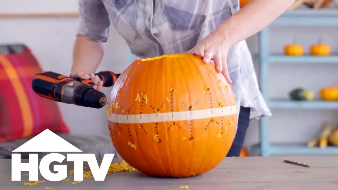 Power Drill Pumpkin Carving Hgtv Youtube