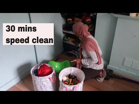 Speed cleaning  a messy room and rearranging furniture in 30 mins
