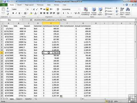EXAMPLES OF HLOOKUP FUNCTION IN EXCEL 2010 - YouTube