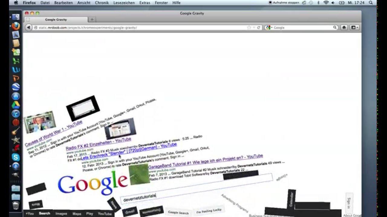 Google gravity theme - Funtorial Google Gravity Deutsch