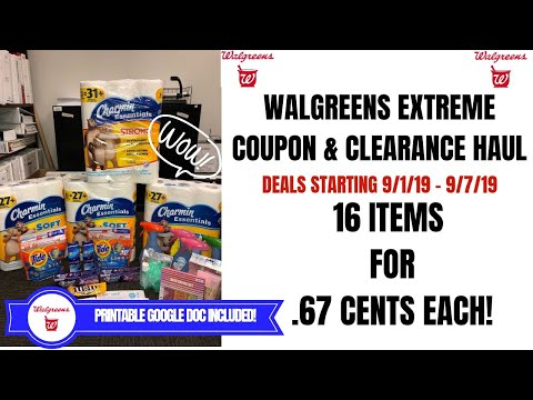 WALGREENS EXTREME COUPON & CLEARANCE HAUL|DEALS STARTING 9/1/19|16 ITEMS ONLY .67 EACH AWESOME DEALS