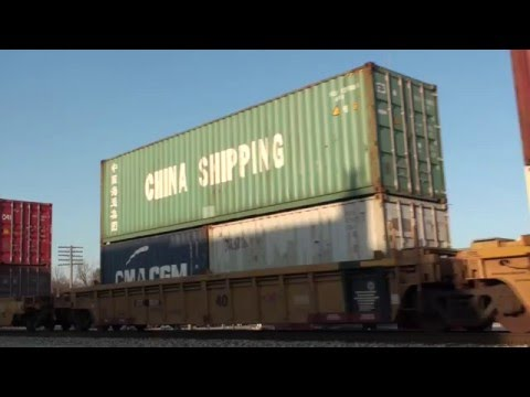 China Shipping Container and U.S. Flag