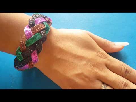 DIY Handmade Bracelet   how to make handmade bracelet from Glitter Paper Easy step by step tutorial