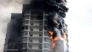 В Красноярске сгорел 16-ти этажный дом! Пожар тушили вертолетом!