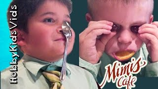 Spoon Balance, Weird Faces + Steals Drink! Pancakes Food Review Mimi's Cafe Hobbykidsvids