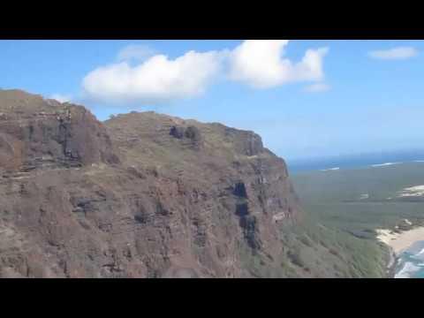 Helicopter Ride - Arriving at Niihau Island Hawaii