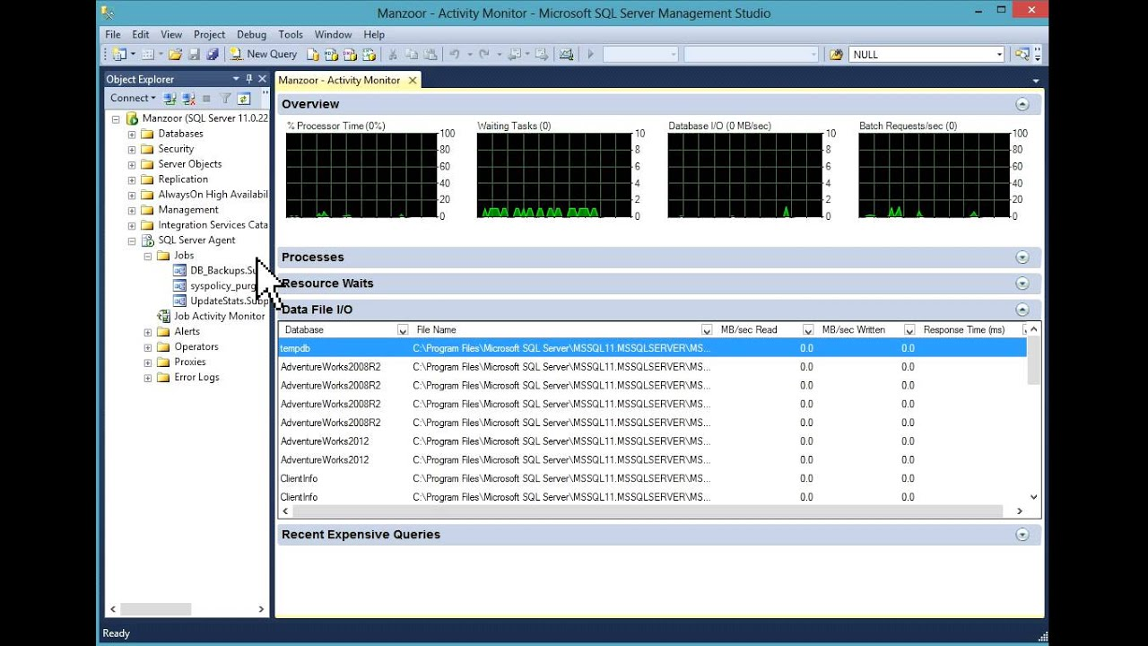 activity monitor in sql server 2012 hd youtube