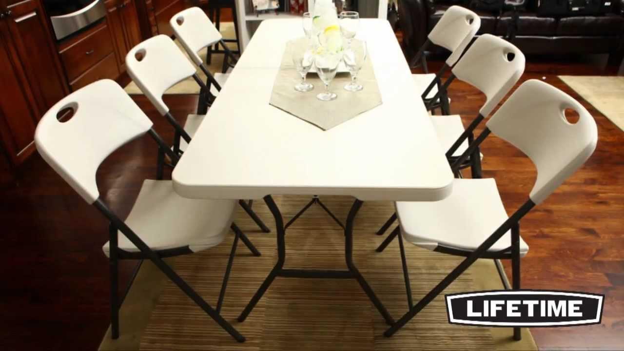 lifetime light commercial folding chair almond youtube