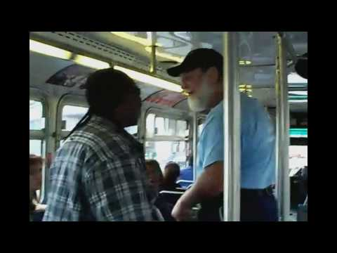 Old man beats young guy AC transit bus fight w/ subtitles
