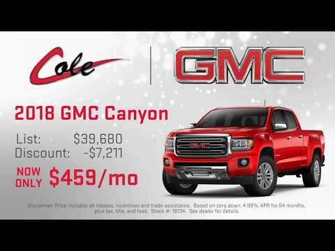 The 2018 GMC Canyon at Cole Chevrolet