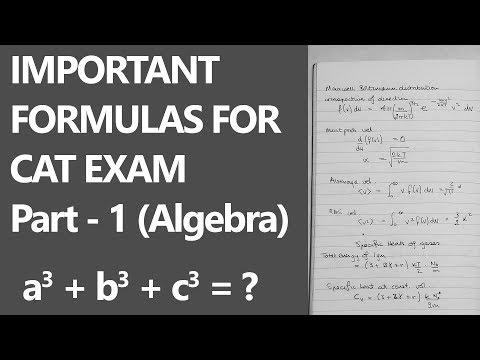 IMPORTANT FORMULAS FOR CAT EXAM [ALGEBRA] Part - 1