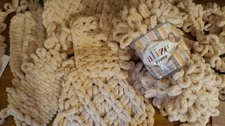 Пряжа Alize puffy прекрасно подходит для пледов и подушек. Как вяза...
