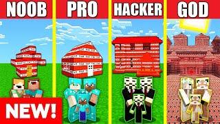 Minecraft Battle: TNT HOUSE BUILD CHALLENGE - NOOB vs PRO vs HACKER vs GOD / Animation EXPLOSION