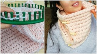HOW TO KNIT A COWL IN DIAMOND STITCH ON ROUND LOOM