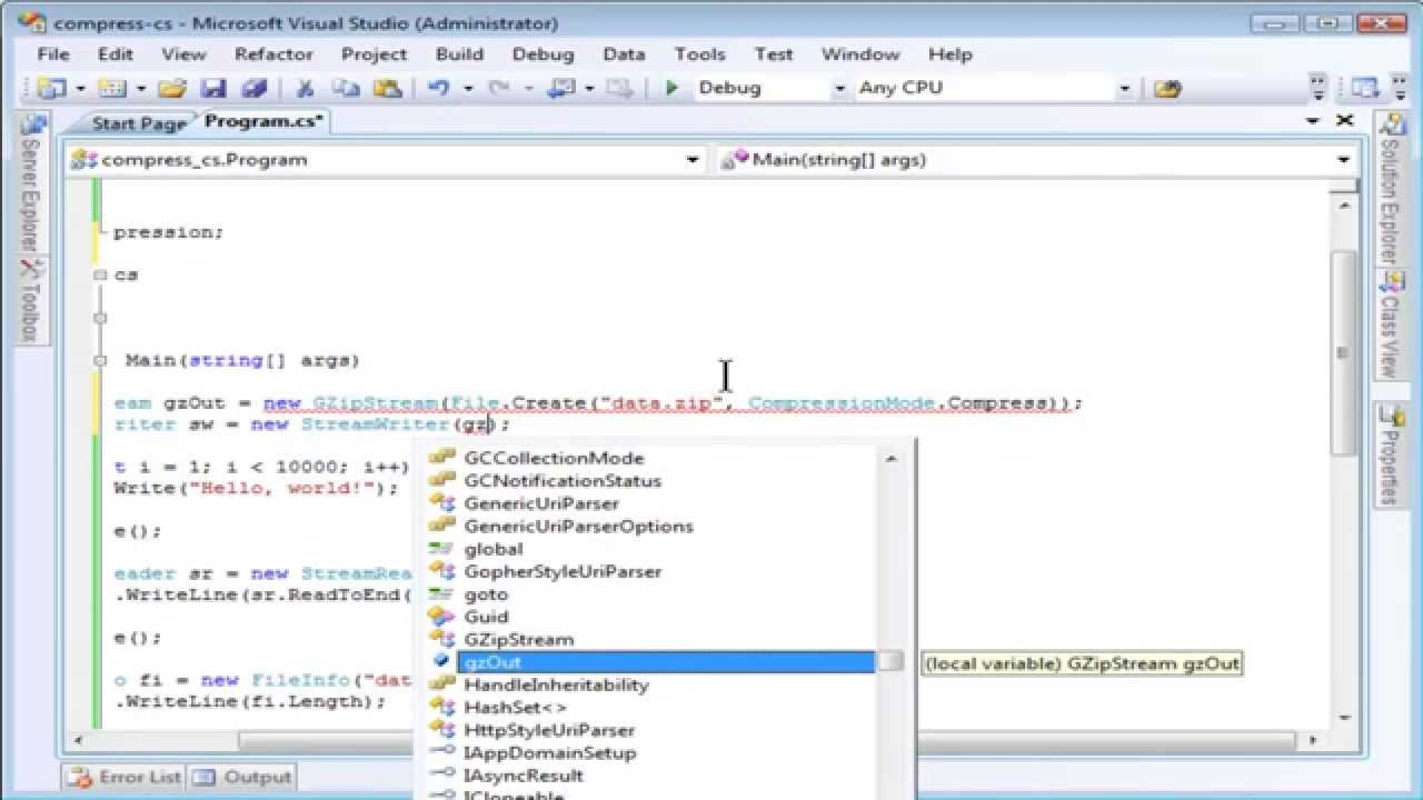 Reading and Writing Compressed Files using C#