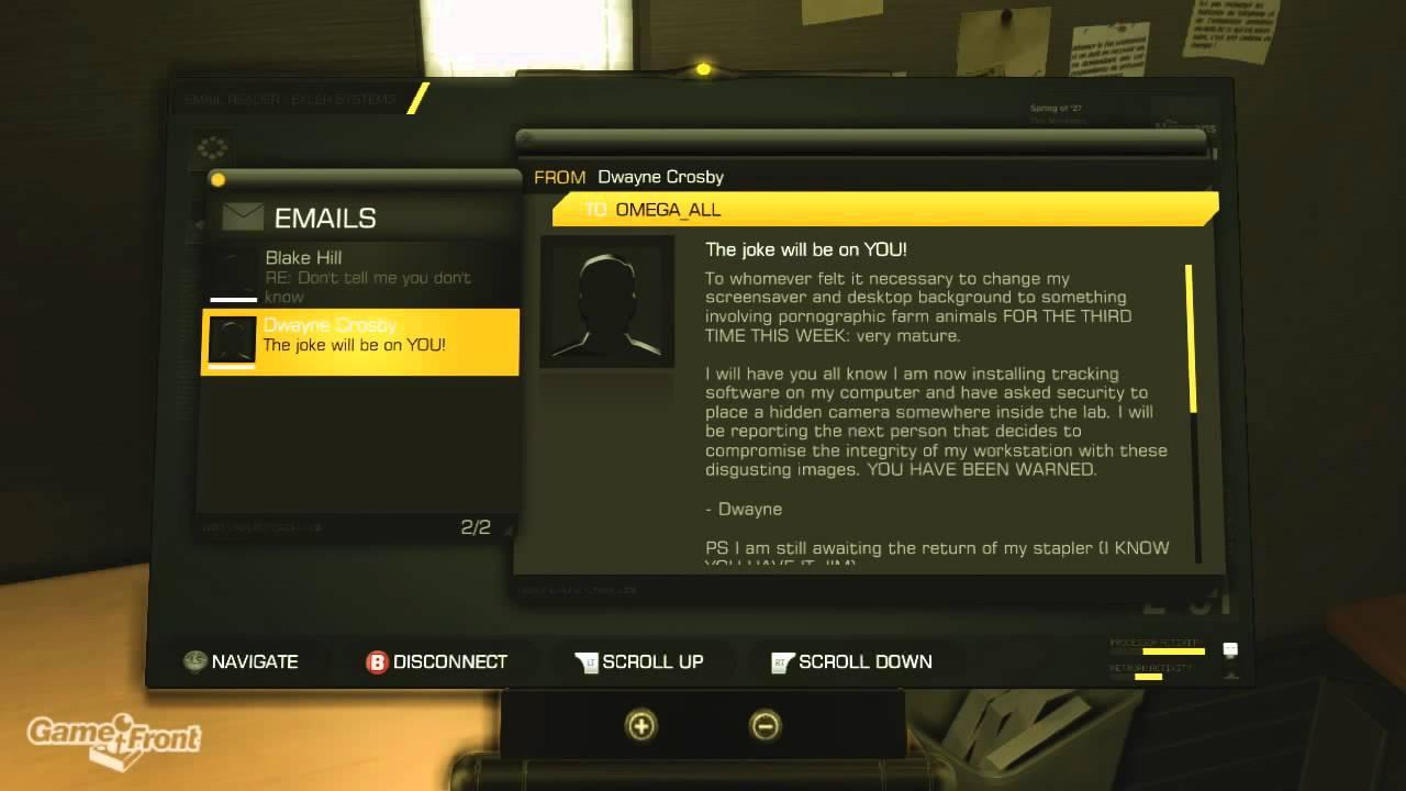 """Deus Ex Human Revolution Easter Eggs - """"The Office"""" Easter Egg ..."""