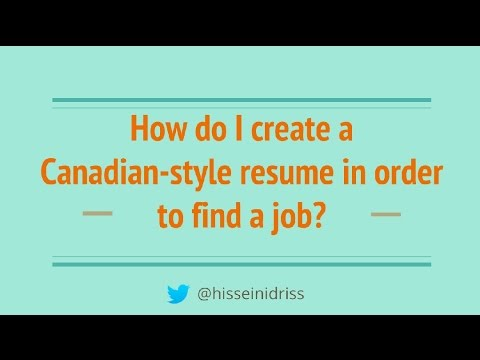 Tips for Canadian-style resume...Part 1