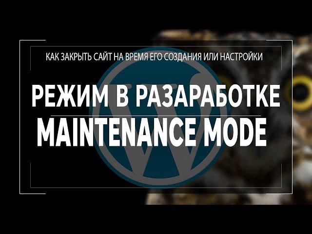 maintenance mode или Режим в разработке для Wordpress