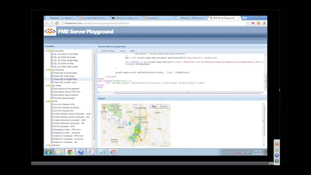 View and work with KML data on Google Maps, and other FME Server examples