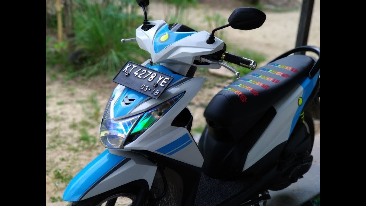 Modifikasi Sederhana Beat FI Striping Biru Putih YouTube