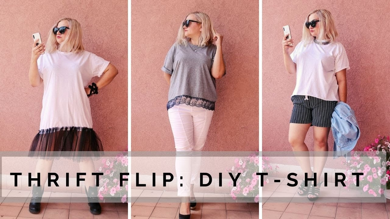 THRIFT FLIP   EASY DIY T-SHIRTS   Turning ugly clothes into cute clothes 1