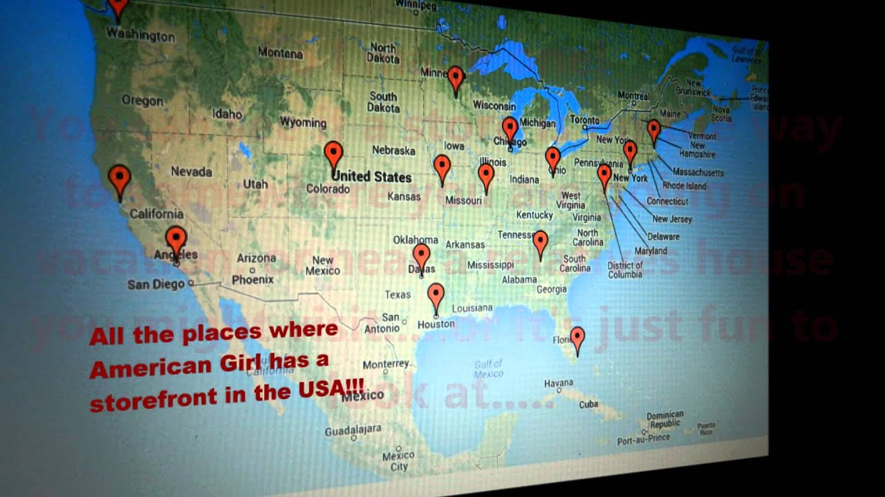 Map Of All The American Girl Doll Stores In The Usa Youtube