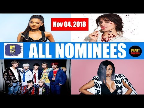 EMAs 2018 - ALL NOMINEES | MTV European Music Awards Nominations | November 04, 2018 | ChartExpress