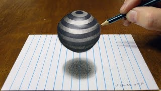 How to Draw Floating Striped Sphere - Drawing 3D Striped Ball on Lined Paper - By Vamos