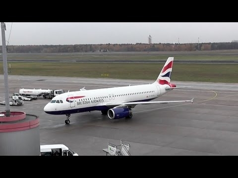 British Airways Airbus A320-232 G-EUYB landing + taxiing to gangway at Berlin Tegel Airport
