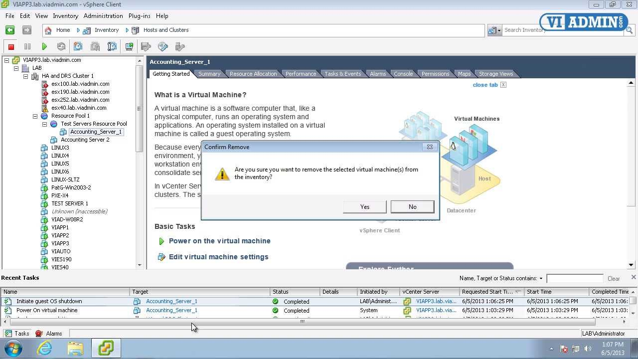 VMWare Training 3-11 Delete Virtual Machine - YouTube