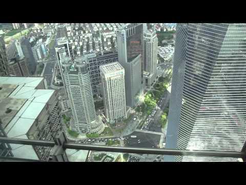 Shanghai Pudong area - World Trade financial center from Jin Mao bldg 88th floor