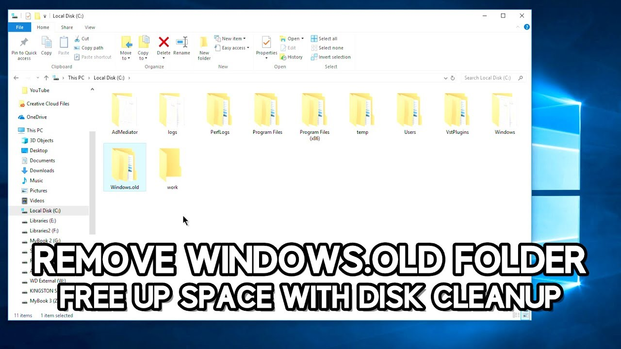 how to delete windows old without disk cleanup