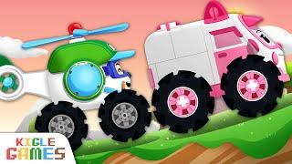 엠버와 헬리를 수리해줘요!   로보카 폴리 정비놀이   경찰차 구급차 소방차 헬리콥터 출동 중장비 자동차 세차 놀이   키글 게임   KIGLE GAMES
