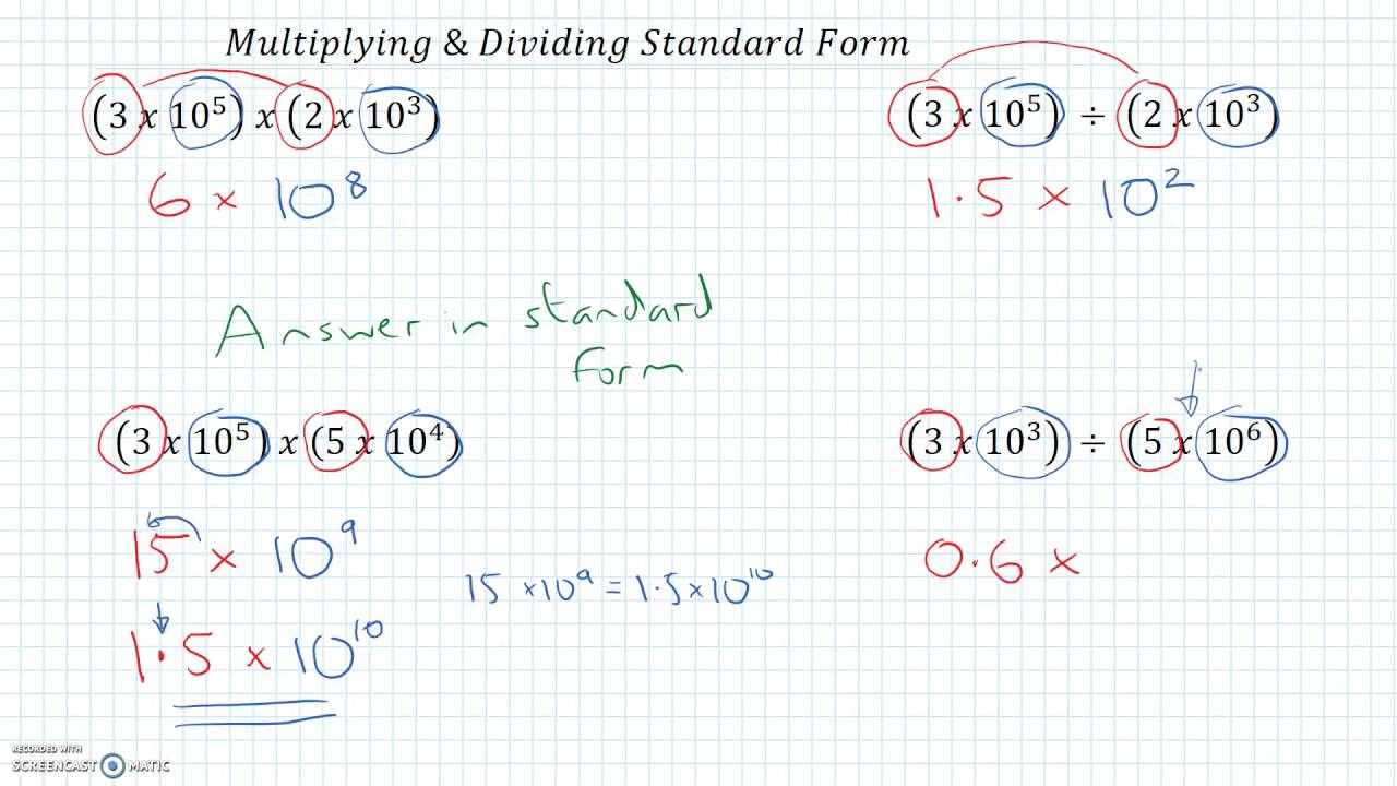 Standard form multiplying dividing youtube standard form multiplying dividing falaconquin